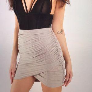 Caitlin Taupe Mini Wrap Skirt